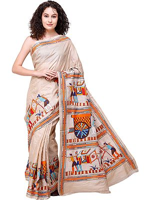 Bleached-Sand Tussar Sari from Bengal with Kantha-Embroidered Marriage Procession