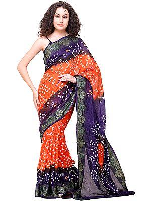 Bandhani Tie-Dye Sari from Gujarat with Zari-Thread Woven Border