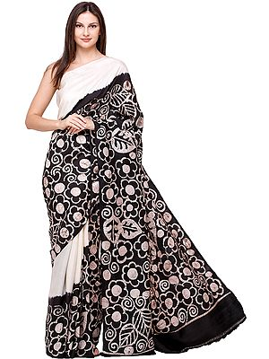 Black and White Batik Printed Sari from Madhya Pradesh with Flowers and leaves
