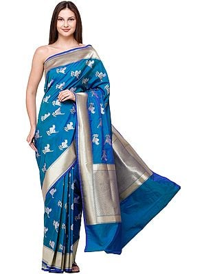 Brocaded Handloom Sari from Banaras with Zari-Woven Swans in Flight