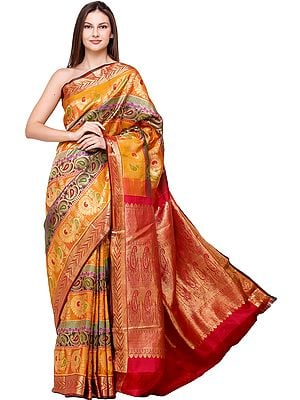 Multicolored Brocaded Wedding Sari from Bangalore with Zari-Woven Peacocks