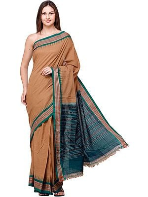 Tannin Handloom Sari from Sambhalpur with Temple Border and Ikat Weave on Pallu