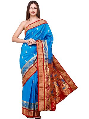 Blue-Jewel Brocaded Paithani-Uppada Fusion Sari from Bangalore with Hand-woven Peacocks on Anchal and Border