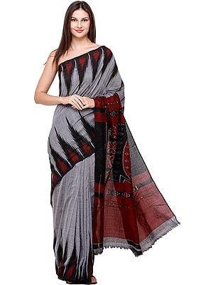 Cloudburst-Gray Temple Handloom Sari with Ikat Weave