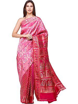 Raspberry-Rose Sita Baluchari Sari from Bengal with Zari-Woven Episodes from Ramayana