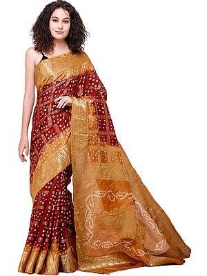 Rio-Red Bandhani Tie-Dye Gharchola Sari From Gujarat with Zari-Weave