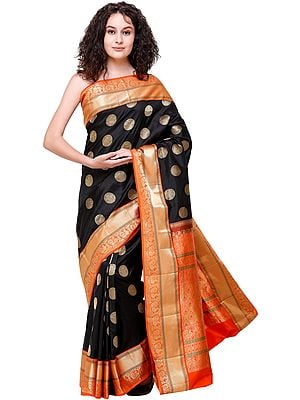 Black and Orange Uppada Sari from Bangalore with Woven Peacocks and Elephants on Pallu