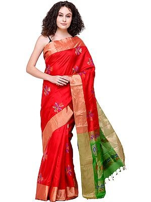 High-Risk Red Uppada Sari from Bangalore with Zari-Woven Flowers