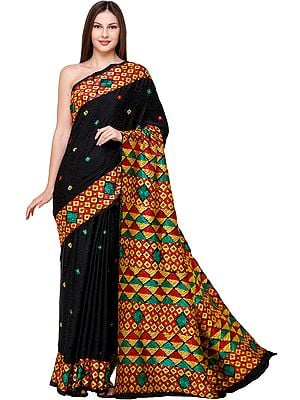 Pirate-Black Phulkari Sari from Amritsar with Multicolor Embroidery on Border and Anchal
