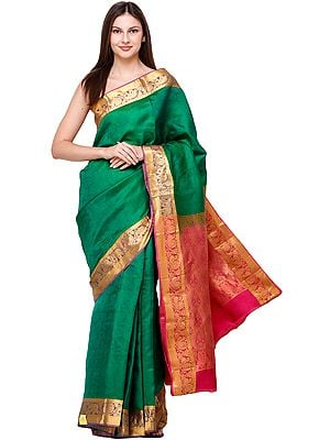 Pepper-Green Sari from Bangalore with Self-Weave and Peacocks on Border and Pallu