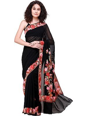 Midnight Black Sari from Kashmir with Ari Embroidered Flowers All-Over