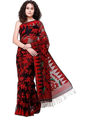 Red and Black Jamdani Handloom Sari from Bangladesh with Woven Bootis All-Over