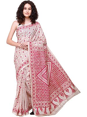 Pearled-Ivory Sari from Kolkata with Floral Kantha-Embroidery by Hand