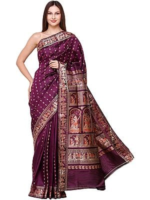 Plum-Purple Baluchari Sari from Bengal with Zari-Woven Scenes from the Mahabharata