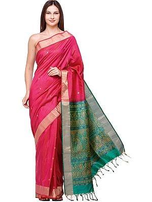 Raspberry-Sorbet Uppada Sari from Bangalore with Zari-Weave on Border