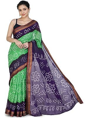 Bandhani Tie-Dye Sari from Gujarat with Zari-Woven Border