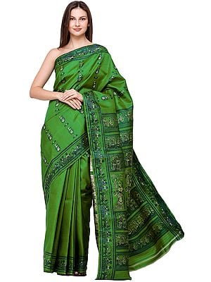 Fern-Green Baluchari Sari from Bengal with Woven Radha-Krishna
