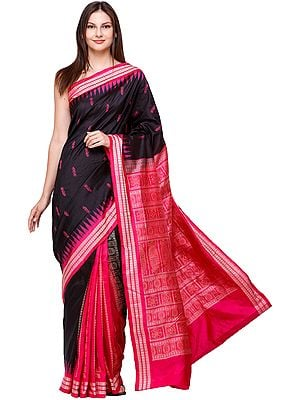 Carmine and Black Bomkai Handloom Sari from Orissa with Woven Bootis and Temple Border
