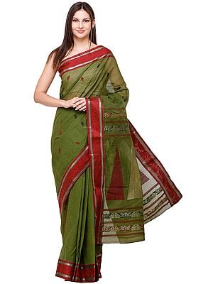 Cactus-Green Sari from Bengal with Zari-Woven Border and Large Temples on Pallu
