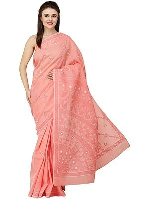 Candlelight-Peach Lukhnavi Chikan Sari with Hand-Embroidered Paisleys and Flowers on Pallu