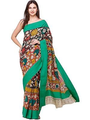 Kelly-Green Kalamkari Sari with Diyas and Large Peacock on Pallu