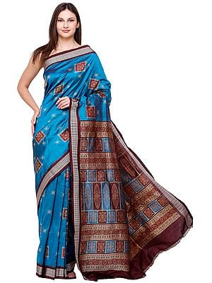 Blue-Danube Bomkai Handloom Sari from Orissa with Woven Bootis on Border and Pallu
