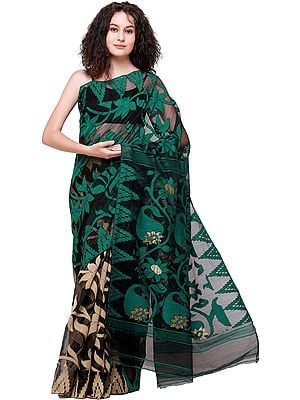 Tidepool-Green and Black Jamdani Handloom Sari from Bangladesh with Woven Bootis and Sunflowers on Pallu
