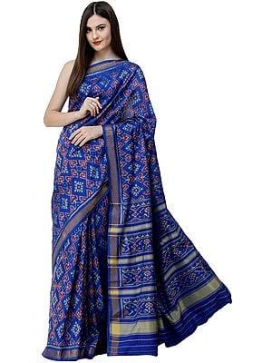 Dazzling Blue Paan Patola Sari from Patan with Hand-Woven Auspicious Motifs
