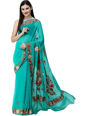 Bright-Aqua Sari from Kashmir with Ari-Embroidered Flowers