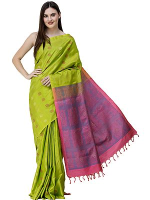 Lime-Punch Uppada Sari from Bangalore with Floral Bootis and Woven Pallu
