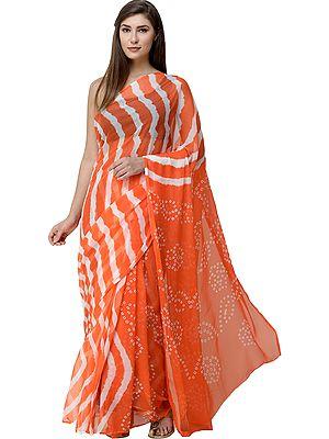 Leheriya Sari from Jaipur with Bandhani Tie-Dye on Pallu