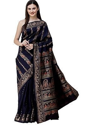 Midnight-Blue Baluchari Sari from Bengal with Woven Mughal Emperor and Dancing Girls
