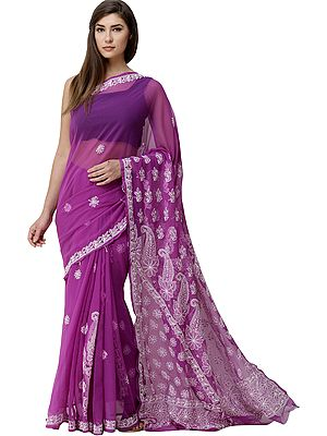Bright-Violet Lukhnavi Chikan Sari with Hand-Embroidered Paisleys and Flowers on Pallu