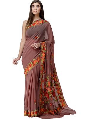 Roan-Rouge Sari from Kashmir with Ari-Embroidered Flowers On Pallu and Border