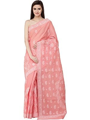 Coral-Pink Lukhnavi Chikan Sari with Hand-Embroidered Paisleys and Flowers on Pallu