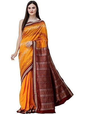 Dark-Cheddar Bomkai Handloom Sari from Orissa with Box Design on Pallu and Temple Border