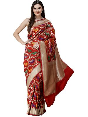 Brocaded Meenakari Sari from Banaras with Zari-Woven  Animals and Flowers All-Over