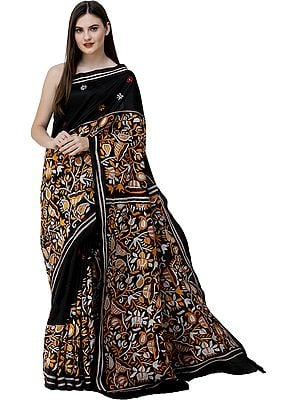 Caviar-Black Sari from Kolkata with Floral Kantha-Embroidery by Hand