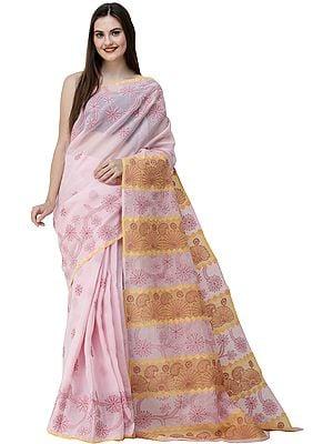 Blushing-Bride Lukhnavi Chikan Sari with Hand-Embroidered Paisleys and Flowers on Pallu