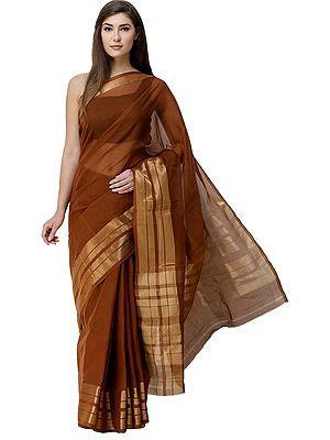 Pecan-Brown Venkatagiri Sari from Andhra Pradesh with Zari Border and Stripes on Pallu