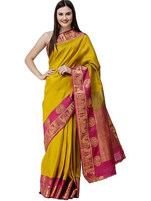 Freesia-Yellow Handloom Sari from Bangalore with Peacocks on Border and Zari-Woven Pallu
