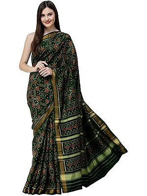 Trekking-Green Handloom Paan Patola Sari from Patan with Ikat Weave