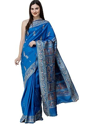Diva-Blue Baluchari Sari from Bengal with Woven Wedding Rituals on Pallu