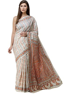 Bleached-Sand Sari from Kolkata with Floral Kantha-Embroidery by Hand