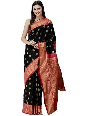 Midnight-Black and Pink Uppada Sari from Bangalore with Zari Woven Motifs and paisleys on Pallu