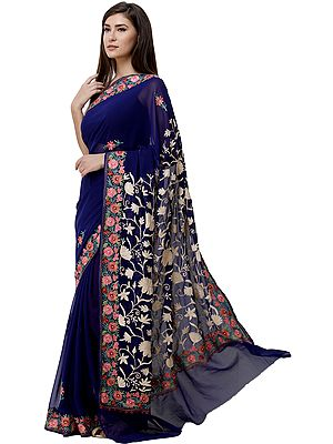 Mazarine-Blue Sari from Kashmir with Ari-Embroidered Multicolor Flowers