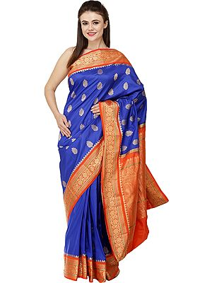 Deep-Ultramarine and Orange Uppada Sari from Bangalore with Zari-Woven  Lotuses and Peacocks