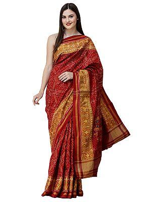 American-Beauty Paan Patola Sari from Patan with Ikat Weave and Tissue Border