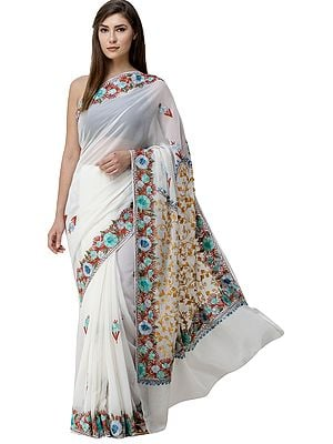 Cream Sari from Kashmir with Ari-Embroidered Multicolor Flowers