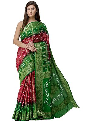 Bandhani Tie-Dye Gharchola Sari from Gujarat with Zari-Woven Border